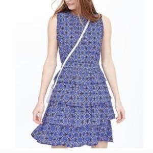 Banana Republic Blue Floral Tiered/Layered Dress.